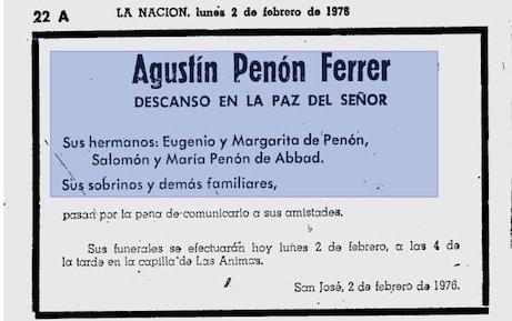 Esquelas de Agustín Penón