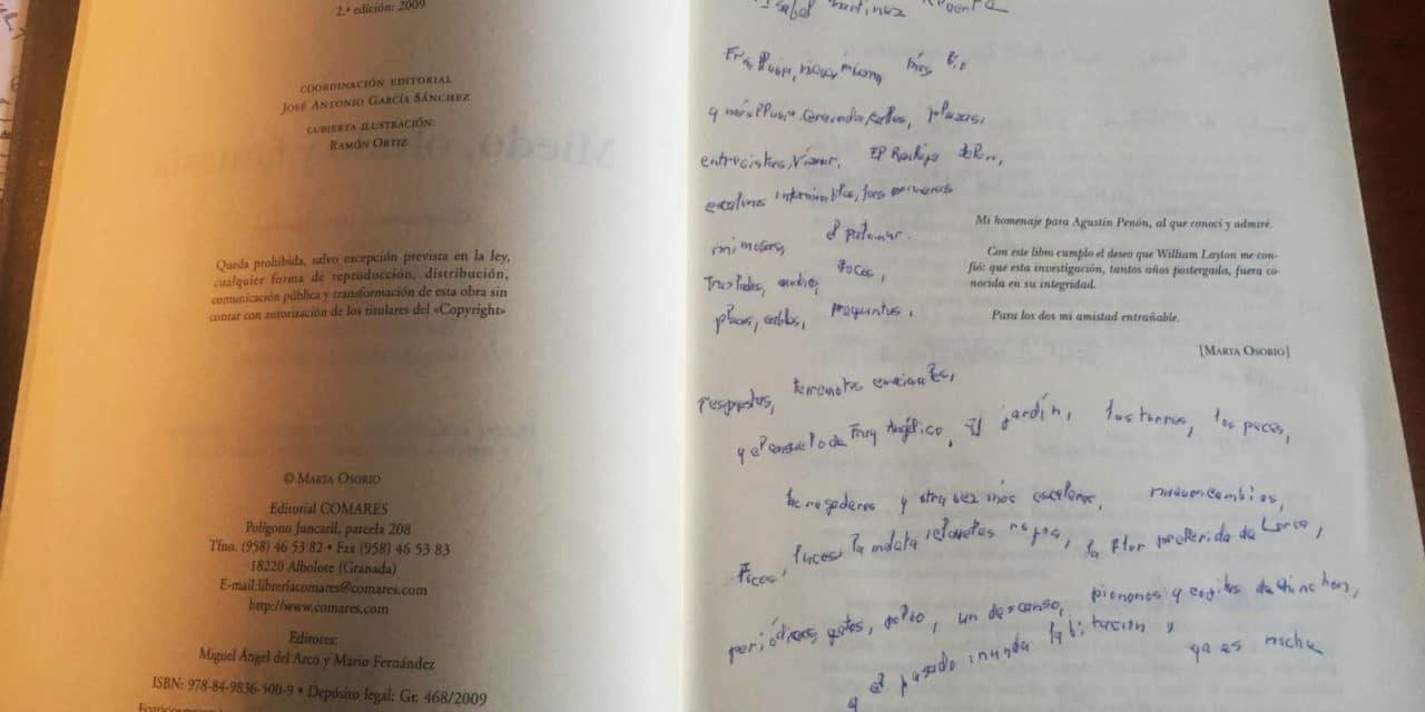 Dedicatoria de Marta Osorio a Isabel M. Reverte