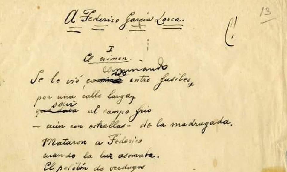 Original del poema de Antonio Machado a Federico García Lorca